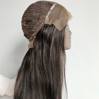 Natural color straight Indian Remi hair frontal lobe lace wig