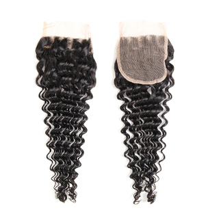 High Quality Deep Wave Malaysian Remy Hair 4*4 Lace Closure